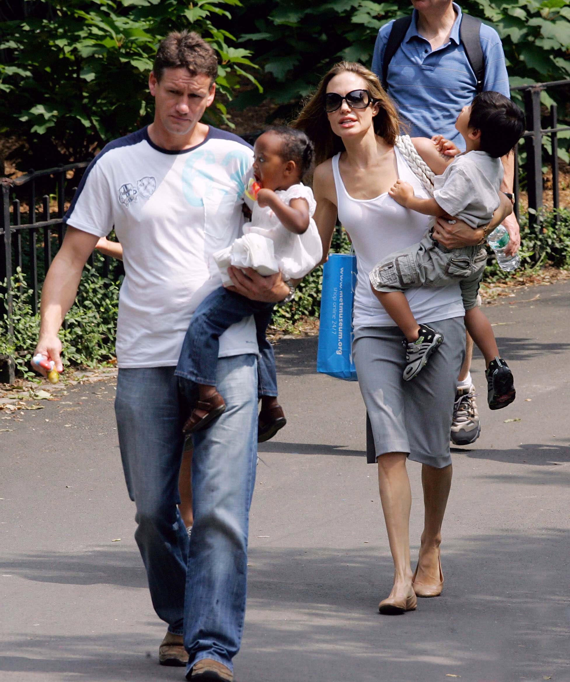 Angelina Jolie on a walk with the kids accompanied by Mark Billy Billingham