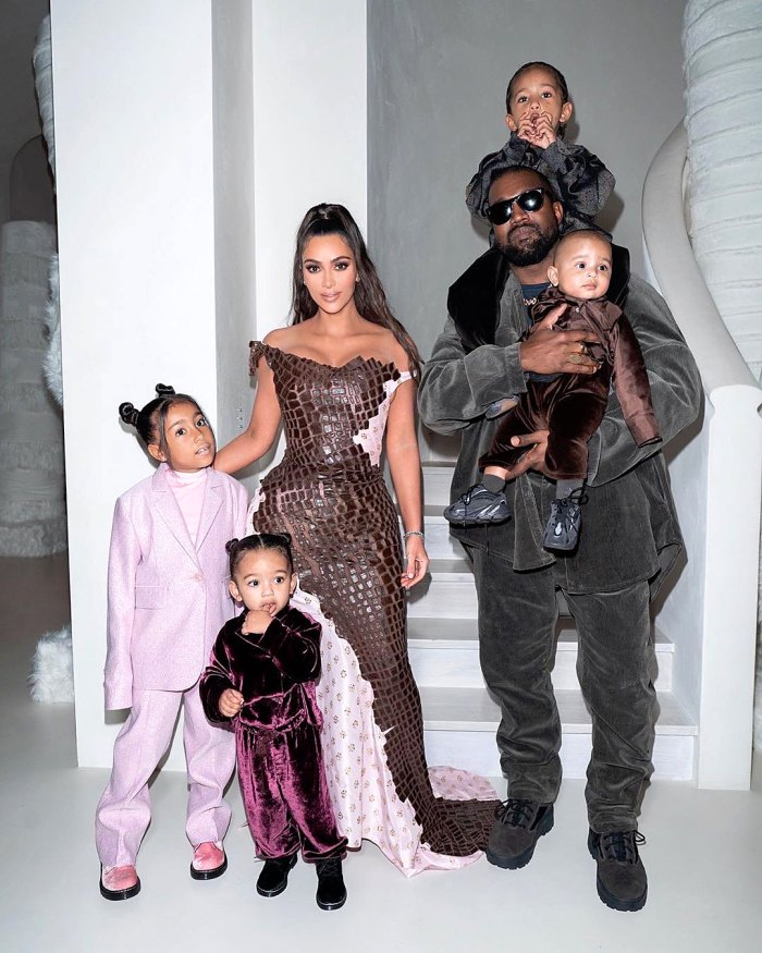 Kim Kardashian and Kanye West with children, North, Saint, Chicago and Psalm.
