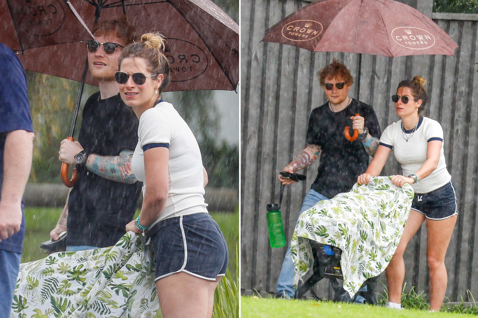 Ed Sheeran on a walk with his wife and 7-month-old daughter