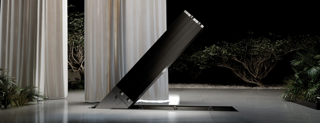 """first foldable TV Presented the first TV that can be """"packed"""" and hidden in the floor - costs $400 000"""