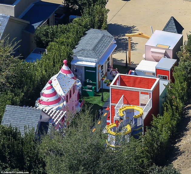 Miniature town in the backyard
