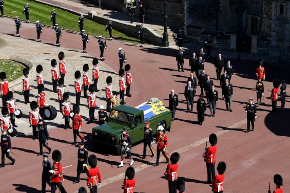 The procession to St George's Chapel at Windsor Castle involved nine members of the Royal Family. Last goodbye: Buried Prince Philip