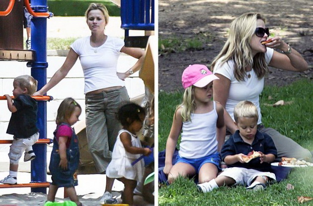 11 celebrities who have made millions but lead a normal life Reese Witherspoon plays with the children in the park