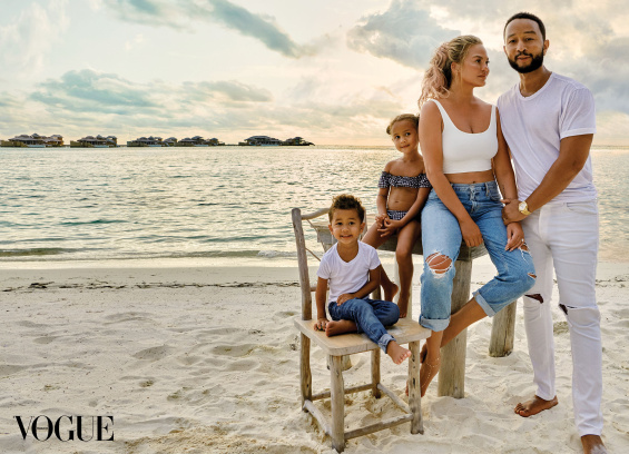 Chrissy Teigen and John Legend with the children in a photoshoot for Vogue Thailand
