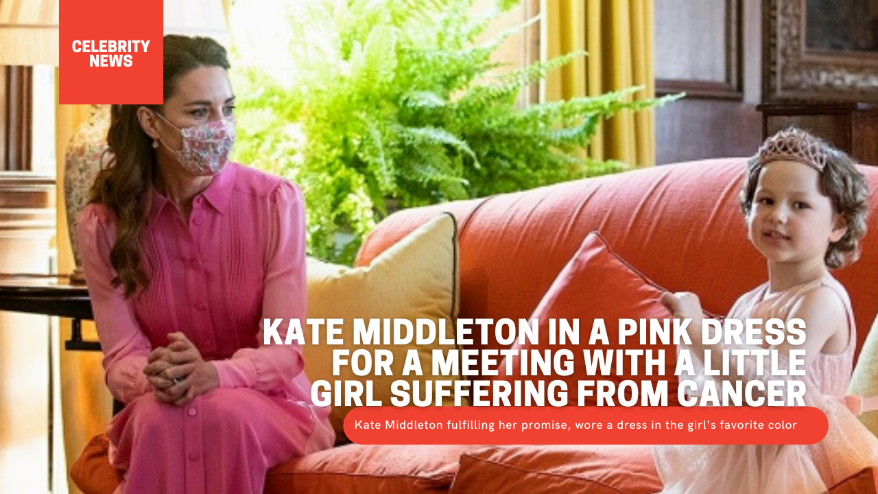 Kate Middleton in a pink dress for a meeting with a little girl suffering from cancer