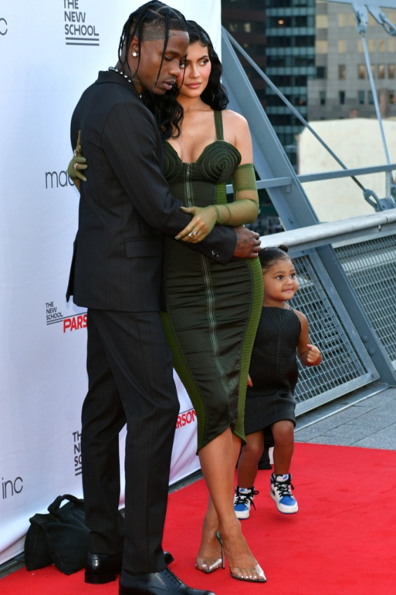 Kylie Jenner with Travis Scott and daughter Stormy on the red carpet in New York