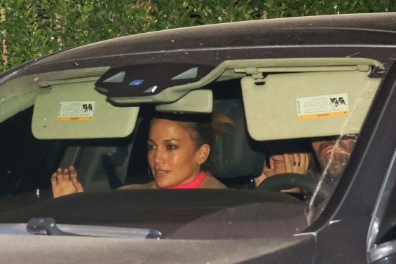 No longer hiding the relationship: Jennifer Lopez and Ben Affleck embracing on an evening out