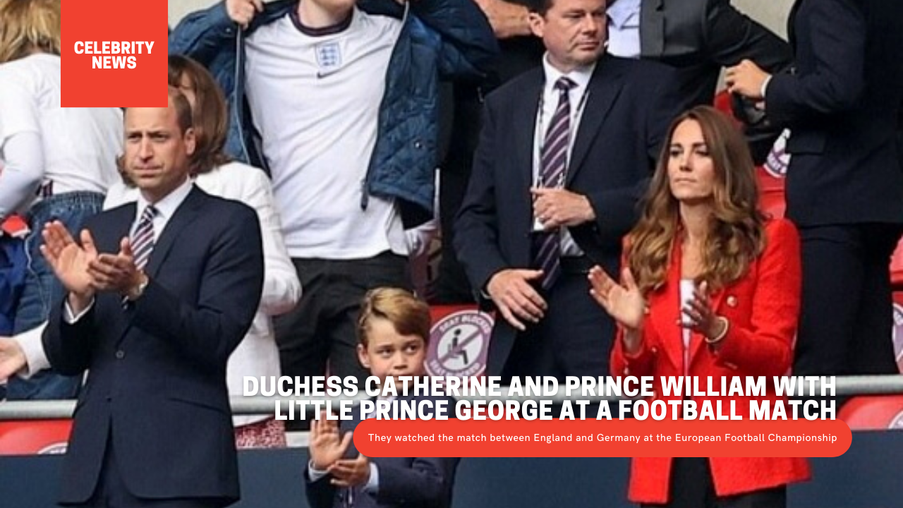 Duchess Catherine and Prince William with little Prince George at a football match