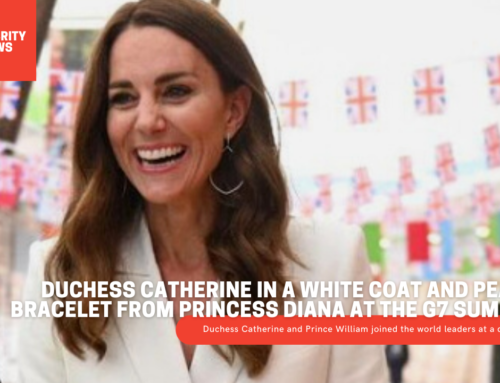 Duchess Catherine in a white coat and pearl bracelet from Princess Diana at the G7 summit