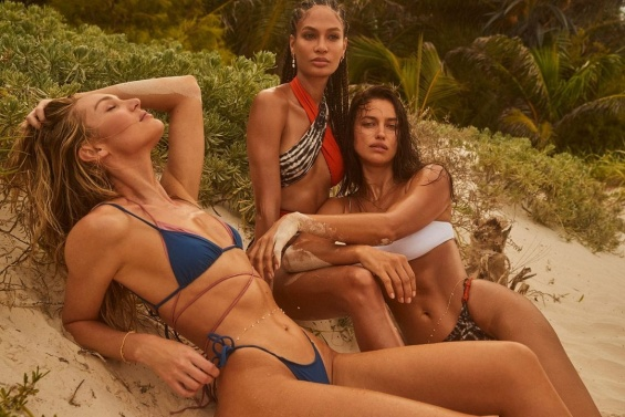Irina Shayk, Candice Swanepoel and Joan Smalls attractive beauties in the swimsuit campaign