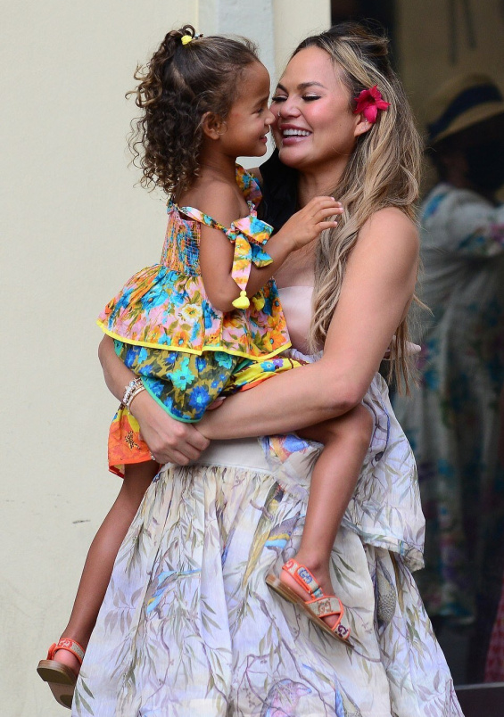 Chrissy Teigen and John Legend with cute kids Luna and Miles on vacation in Florence