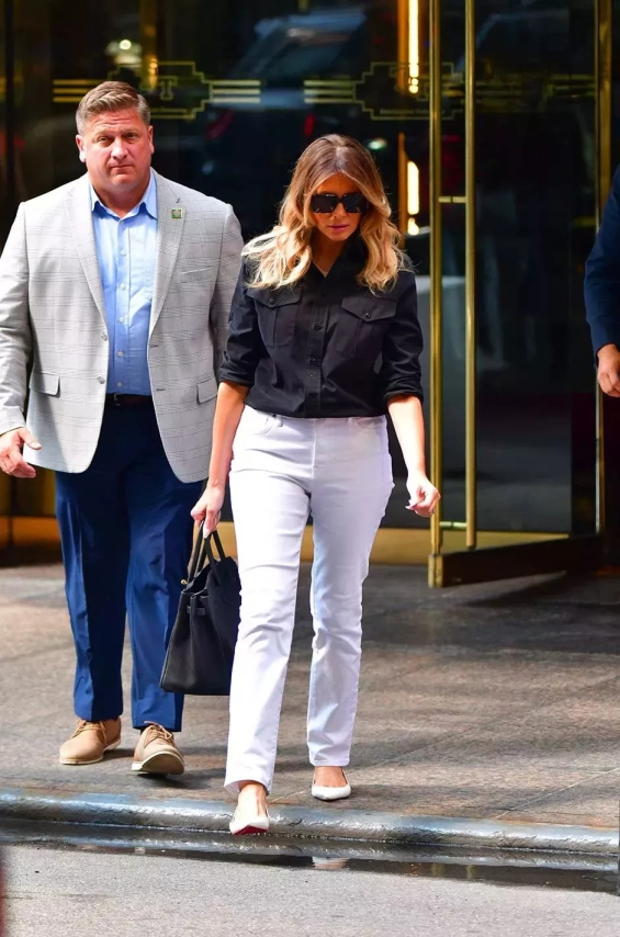 Melania was seen leaving the Trump Tower skyscraper