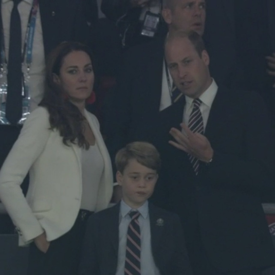 Joy, then sorrow: Sweet Prince George cheers for England at Wembley with parents Catherine and William